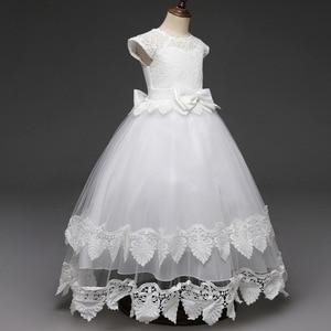 Image 3 - תחרה Teen בנות שמלת 2018 חדש הטולה ילד חתונה לבן נסיכת תחרות שמלת שושבינה שמלות לילדים מסיבת ערב בגדים