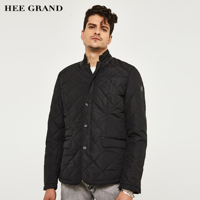 HEE GRAND Hot Sale Men's Quilted Jacket Fashion Stand Collar Casual Solid Collar  Epaulet Design Warm Outwear MWJ1960