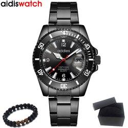 AIDIS Top marka luksusowe biznes kwarcowy zegarek mężczyźni zegarki wodoodporny Sport armia wojskowy zegarek na rękę mężczyzna zegar Relogio Masculino w Zegarki kwarcowe od Zegarki na