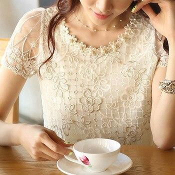 S-XXXL 2015 hot  fashion Summer Offer women's chiffon shirt lace top beading embroidery o-neck  Women's Blouses Blouse  d338A31