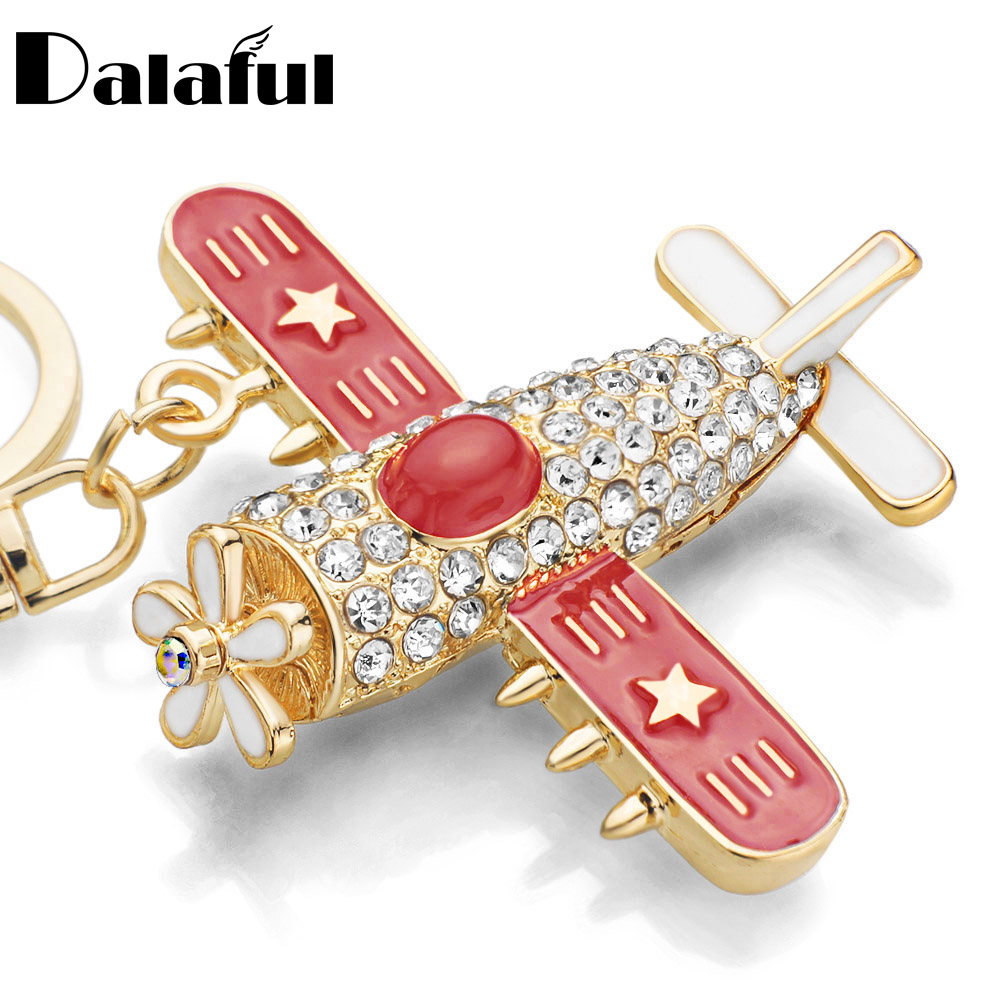 Plane Aircraft Key Chains Rings Holder Flower Star Crystal Rhinestone Purse Bag Buckle Pendant Keyrings KeyChains K278