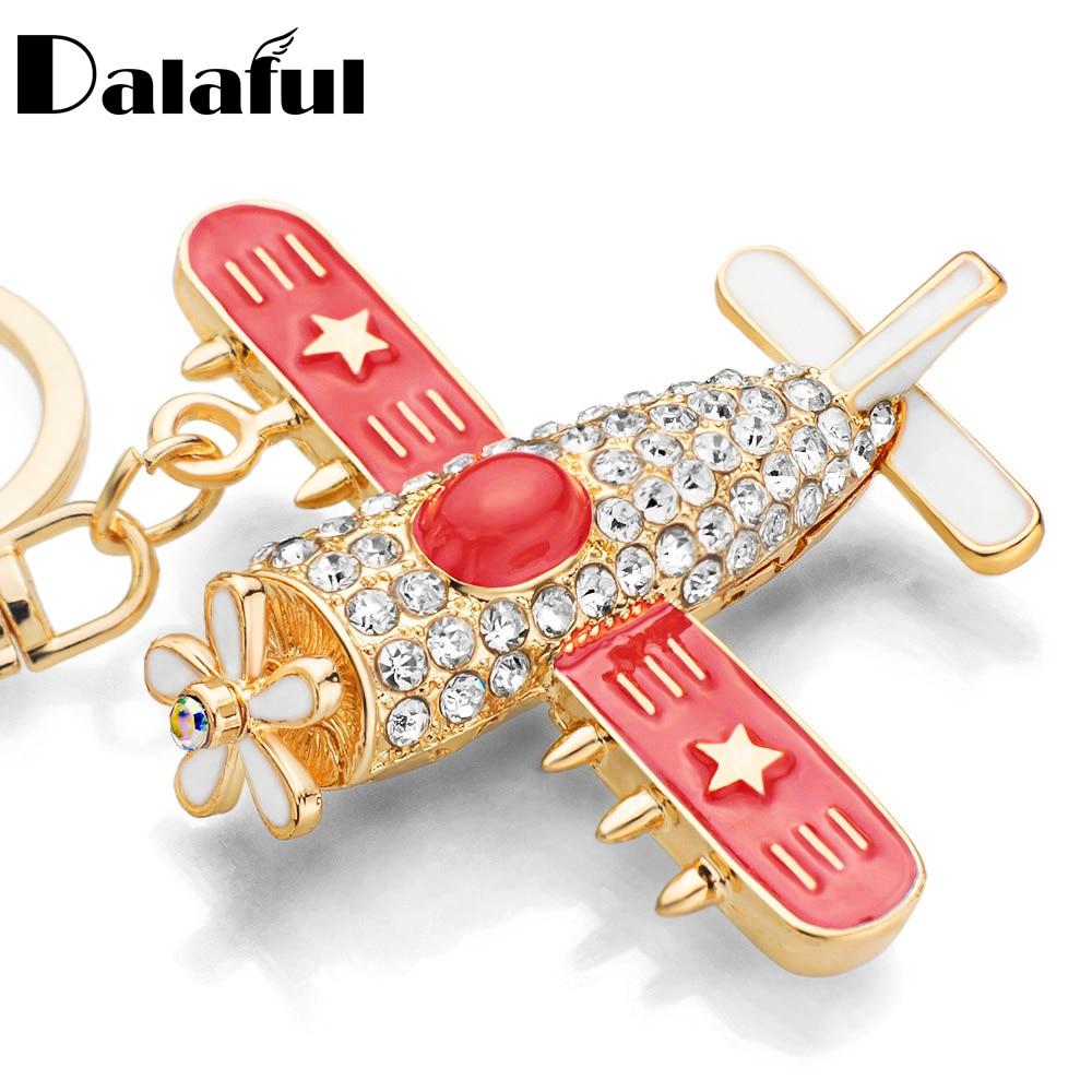 Plane Aircraft Key Chains Rings Holder Flower Star Crystal Rhinestone Purse Bag Buckle Pendant Keyrings KeyChains K278