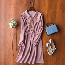 2019 Autumn Women Dress Korean New Sweet Mori Girl Dresses Fashion Bow-knot Solid Color Casual Corduroy Pleated 8 Styles