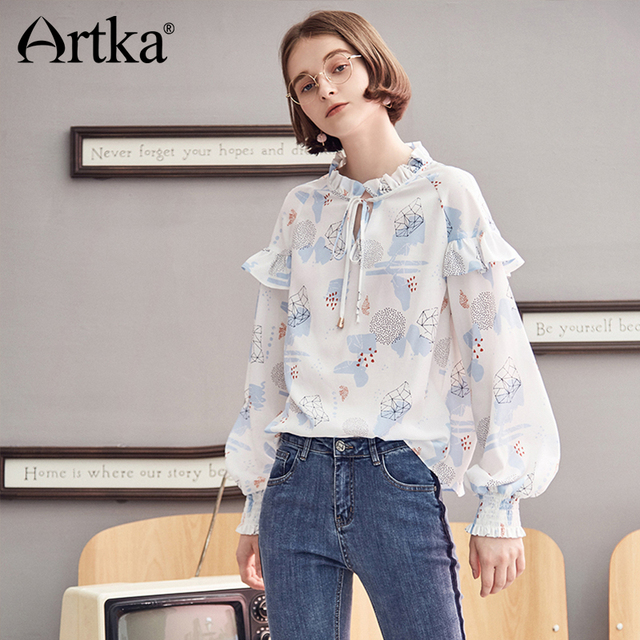 754d09fc94 ARTKA 2018 Autumn New Women Fresh Print Chiffon Blouse Ruffled Full Lantern  Sleeve Bandage Decoration Pendant Shirt SA10380Q US  33.49