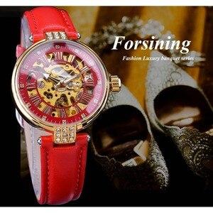 Часы Forsining, золотые, с алмазным дизайном, красные, из натуральной кожи, водонепроницаемые, механические