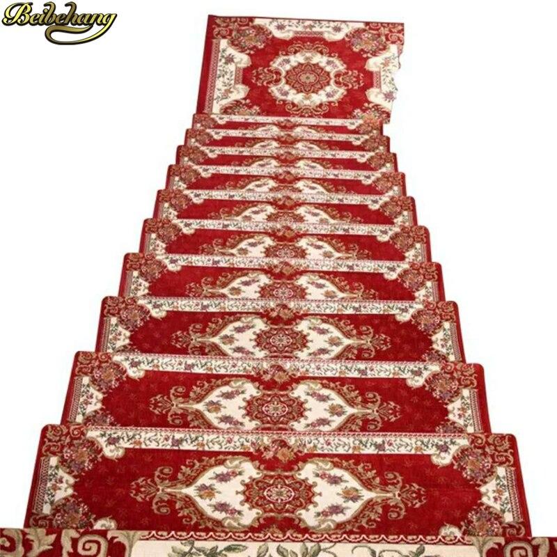 beibehang European Dornier anti-slip mats glue-free self-adhesive wood stair mat step mats woven corridor carpet Home Decoration