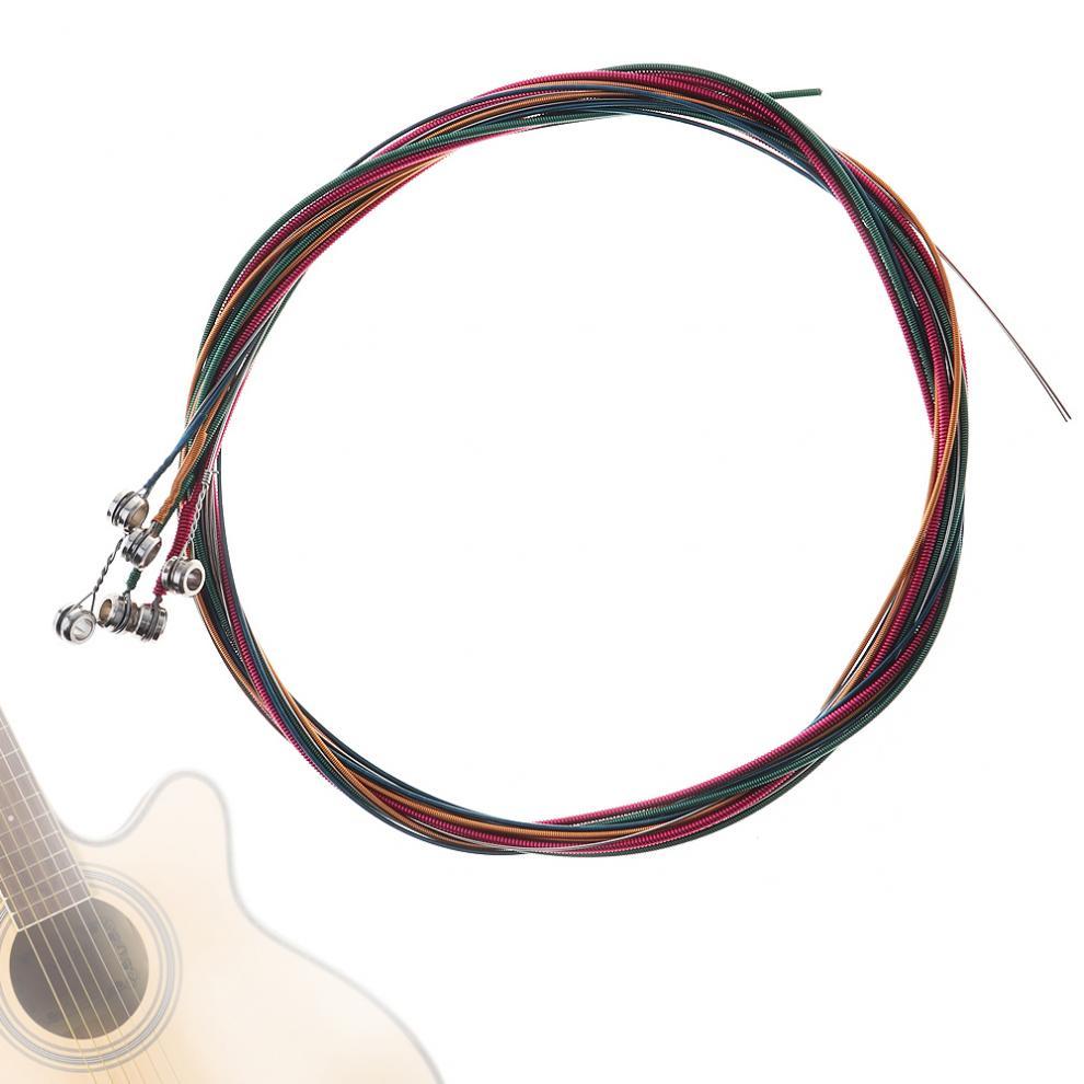 Universal 6pcs/Set Rainbow Colorful Guitar Strings Replacement Part for Acoustic Folk Guitar / Classic Guitar savarez 510 cantiga series alliance cantiga normal high tension classical guitar strings full set 510arj