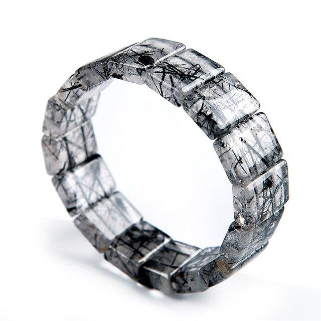 Natural Black Hair Needle Rutilated Quartz Crystal Charm Rectangle Beads Bracelet 18*7mm