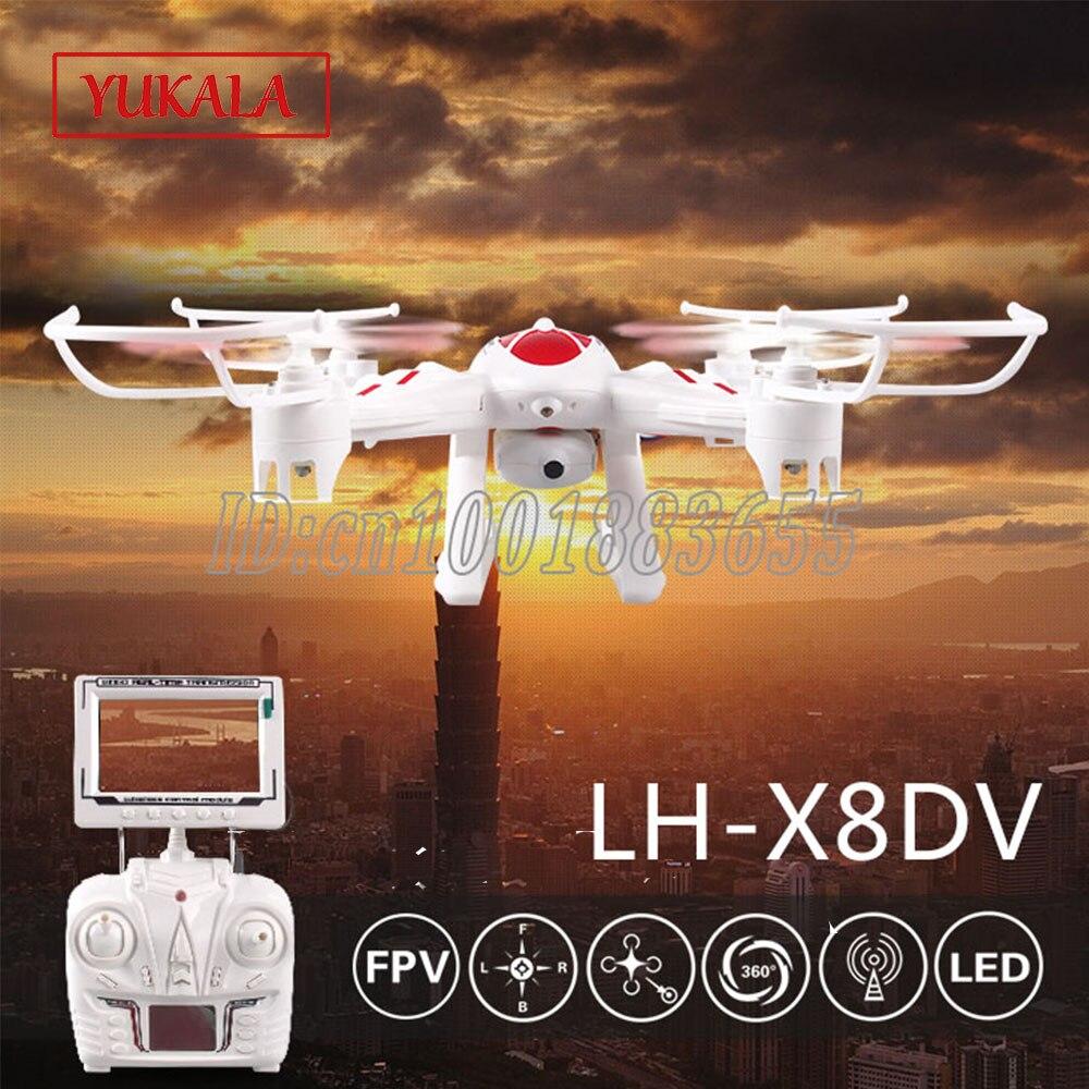 LH-X8 LH-X8C LH-X8DV RC quadrirotor 2.4 GHz 4CH 6 Axes Hélicoptère 3D Basculer Un Retour de Clé Drone avec Caméra FPV Cool lumière LED jouets