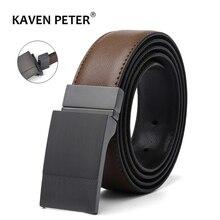 Men Genuine Leather Plate Reversible Buckle Belt Toothpick Pattern Male Business Dress Belts Dropship Suppliers Cinturon Mujer