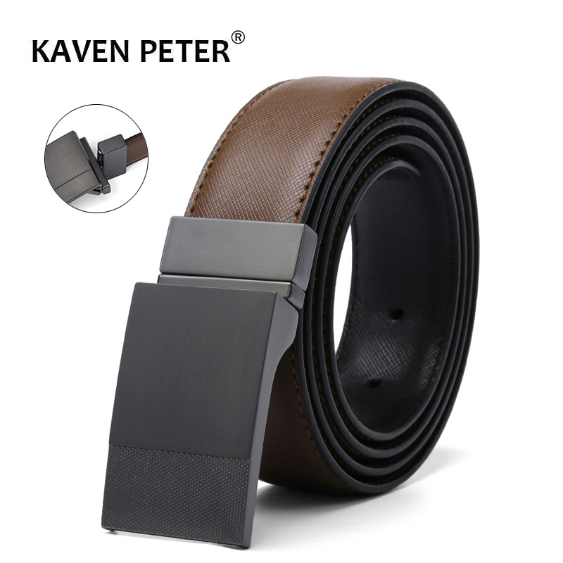 Men Genuine Leather Plate Reversible Buckle   Belt   Toothpick Pattern Male Business Dress   Belts   Dropship Suppliers Cinturon Mujer