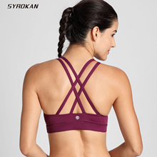 SYROKAN Women's Strappy Back Wirefree Padded Workout Yoga Sports Bra