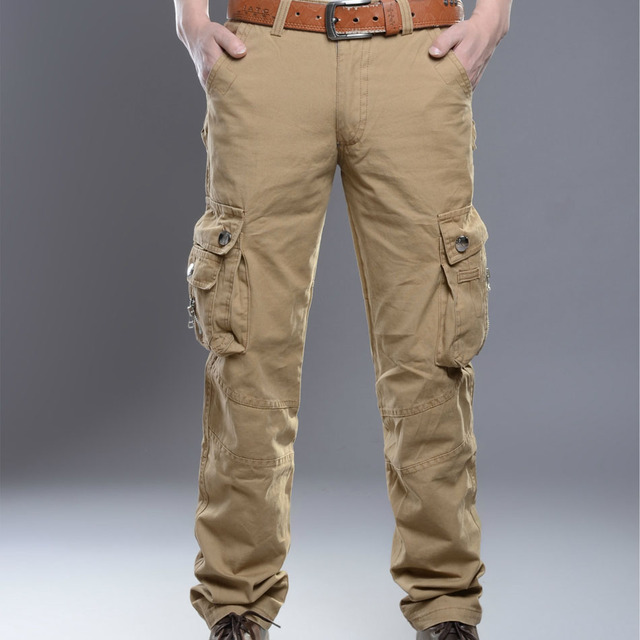 Mens Cargo Pockets Pants Fight Military Style Tactical Trousers Spring Pants Pocket Pants Casual Combat Pocket clothing