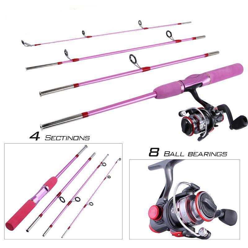 Sougayilang 1 5m Portable Fishing Rod With Spinning Reel Combo Pink Fishing Rod Pole Fishing Reel Kit For Women Children Fishing Aliexpress