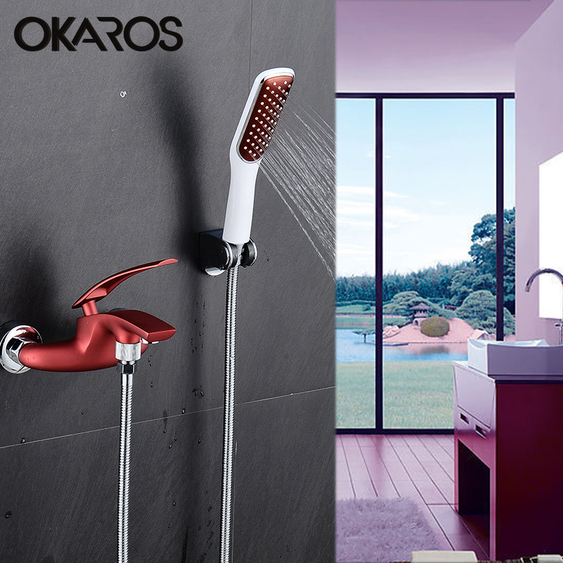OKAROS Wine Red Bathtub Shower Faucet With Head Held Shower Head Bathroom Shower System Set Single Handle Water Tap Mixer portable 1 3 8 led 0 12w 48lm digital luggage scale black 2 x aaa 10g 50kg