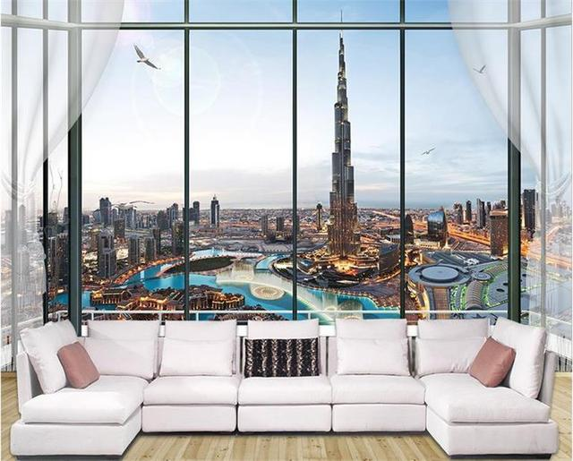 Custom Wallpaper 3d Photo Wallpaper Living Room Mural Window Dubai