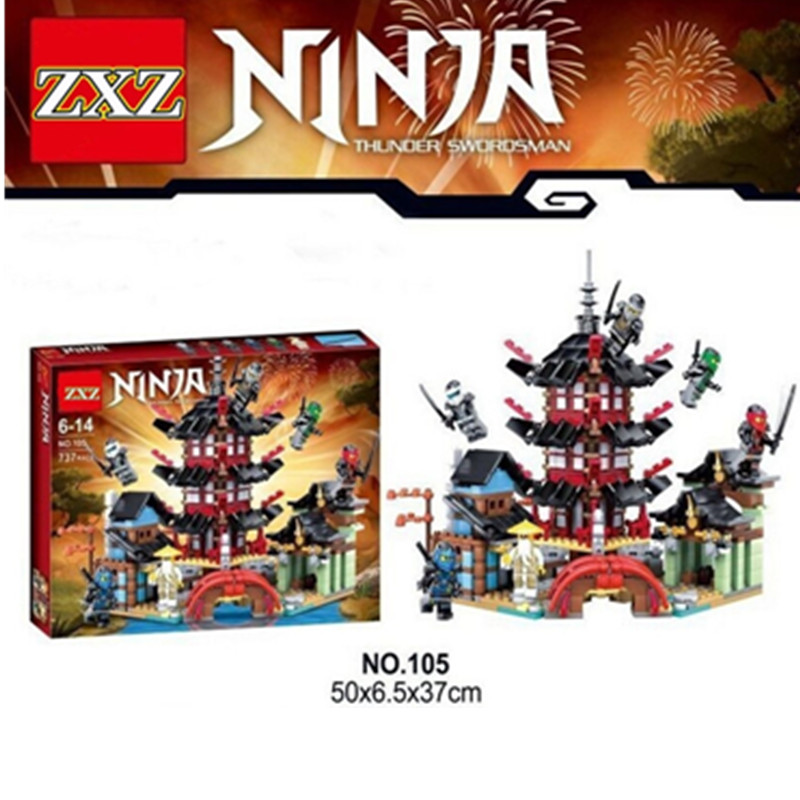 Ninja Temple of Airjitzu Ninjagoes Smaller Version Bozhi 737 pcs Blocks Set with Lepin Toys for Kids Building Bricks legoingly fundamentals of physics extended 9th edition international student version with wileyplus set