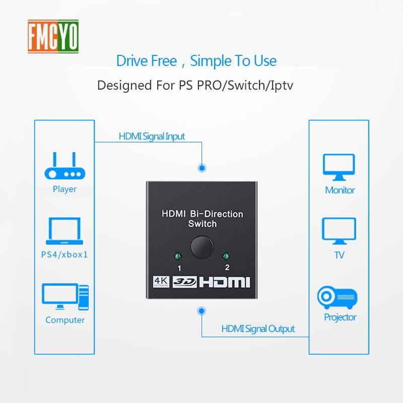 HDMI Splitter KVM Switcher 2x1 1x2 Mini HDMI Port 2 Input 1 Output 4K  Resolution Bi-Directional HDMI Switch Matrix