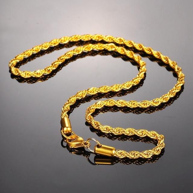 FUNIQUE Paslanmaz Çelik Kolye Kadın erkek için zincir Kolye bükme halat Zincir altın renk Bildirimi Kolye Güzel Takı 4mm