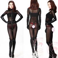 Plus Size Wetlook Transparent Long Sleeve Body Mujer Jumpsuit Lingerie Bodystocking Sexy Hot Erotic Zipper Open Crotch Bodysuit