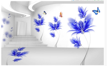 TV Backdrop Bedroom Photo Wall Paper 3D Original Space To Expand Blue Dream Butterfly Flower 3D Background Wall(China)