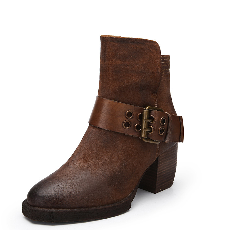 2018 Autumn and Winter New Women's Genuine Leather Boots European Style Simple and Retro Ankle Boots for Women retro style strapless rose and figure print corset for women