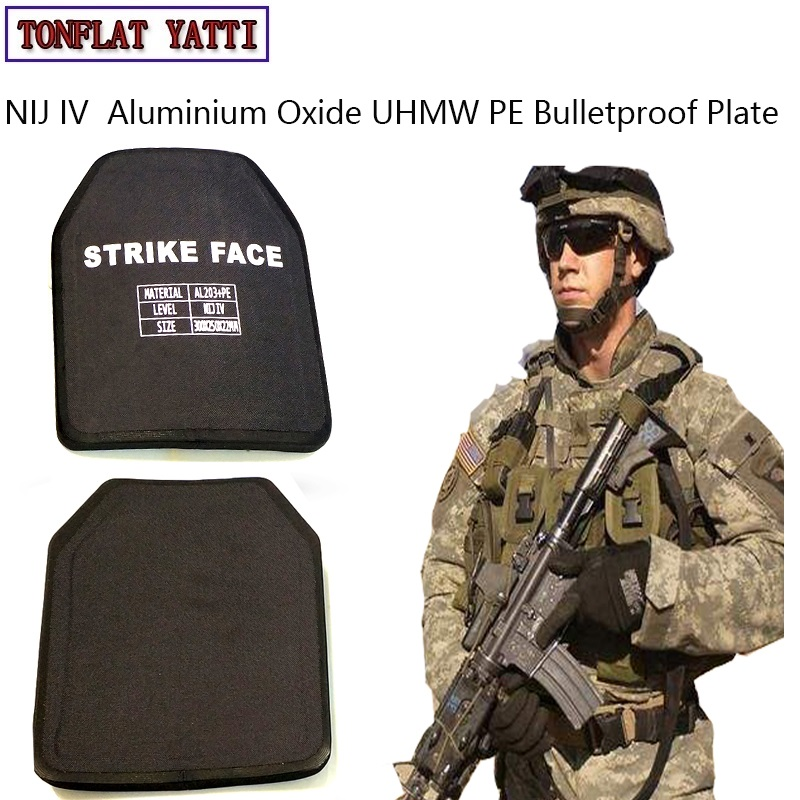 Military Tactics Alumina & PE NIJ IV Bulletproof Panel/Al2O3 Lvl NIJ 4 Stand Alone Ballistic Plate With Test Video And Report