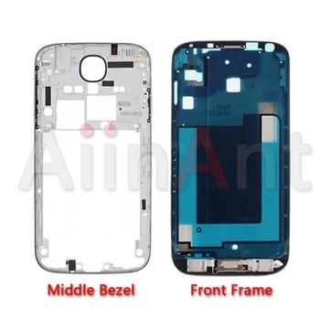 Soporte de pantalla LCD marco frontal bisel medio placa bisel chasis para Samsung Galaxy S4 i9500 i9505 i337 carcasa Color plata