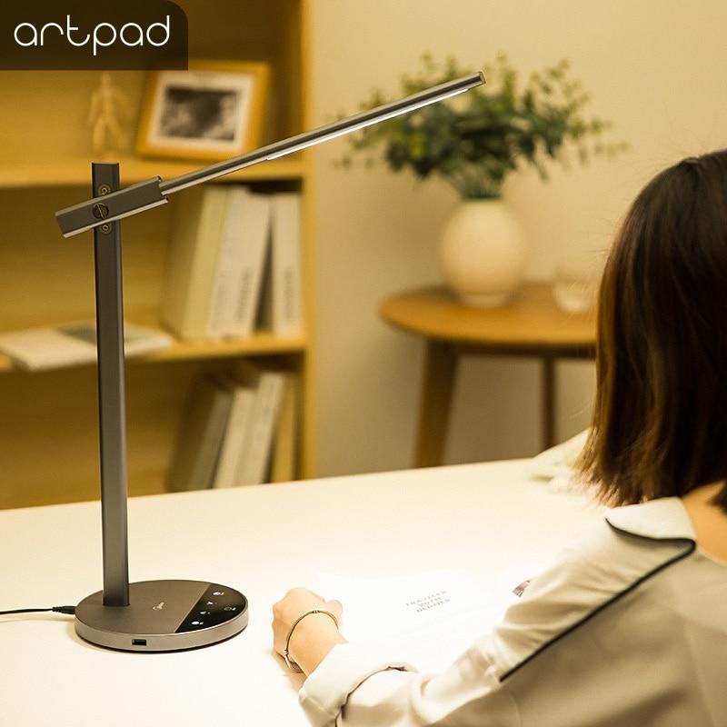 Artpad Eye Care Modern Desk Lamp Touch Button 15 Levels Brightness Dimmer LED Reading Desk Table Lamp with Timmer Black