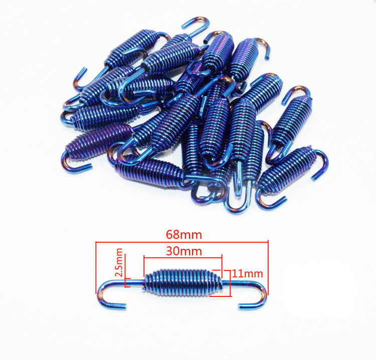 Motorcycle Scooter Exhaust Pipe Muffler Springs Hooks Stainless Steel 6Pcs Blue