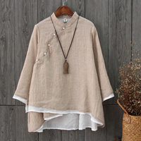 6 Colors National Style Two Layer Stand Collar Pearls Oblique Button Cotton Linen Shirts Women Vintage