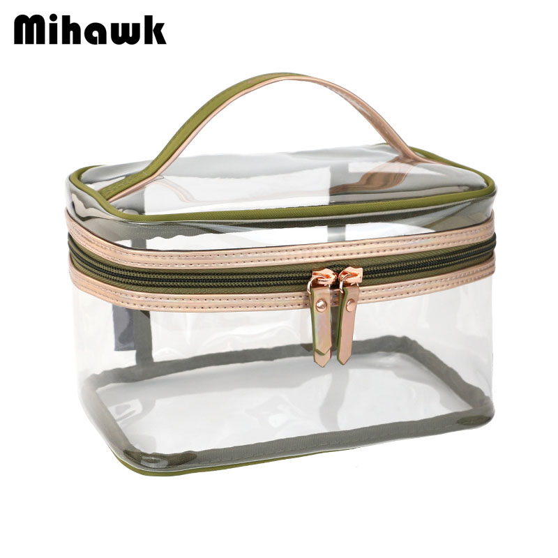 Mihawk Transparent PVC Waterproof Cosmetic Bag Portable Wash Pouch Women's Necessary Beauty Tools Storage Accessories Supplies mihawk women s fashion animal portable handbags shoulder pouch messenger pouch storage belongings organizer accessories products