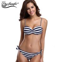 Sexy Striped Halter Flat Chest Bikini Brazilian Bikini Set Women Swimwear Maillot De Bain Biquini