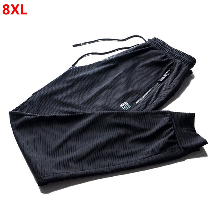 Summer hollow mesh breathable thin ice silk quick drying sweatpants men's trousers casual air conditioning pants