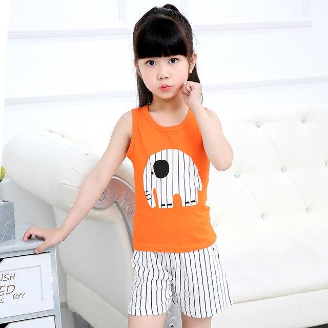 SAILEROAD Summer Pijama Infantil Sets Baby Girl Cartoon Elephant Pajamas Vest Top Shorts Pants Set Clothes Children Clothing Set