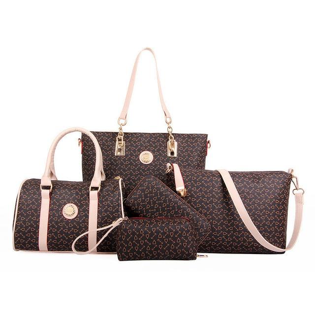 5 Set Famous Brand Women luxury Hand Bag For 2018 PU Leather Purse Bags shoulder Messenger Ladies Handbag bolsa feminina AWM19
