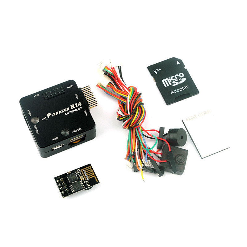 Pixracer R14 F4 Flight Controller With CNC Protective Case ESP8266 Wifi Module Micro SD Card Buzzer For RC Racing Drone Models esp 07 esp8266 uart serial to wifi wireless module