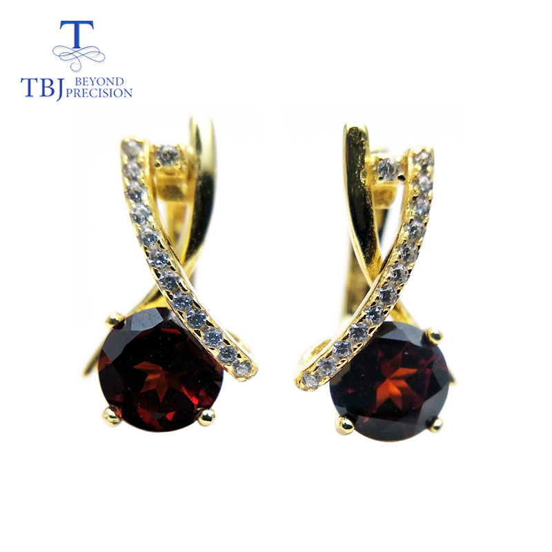 TBJ,2018 new Clasp earring with natural mozambique garnet round 6mm 2ct gemstone earring 925 sterling silver for girls with box цены