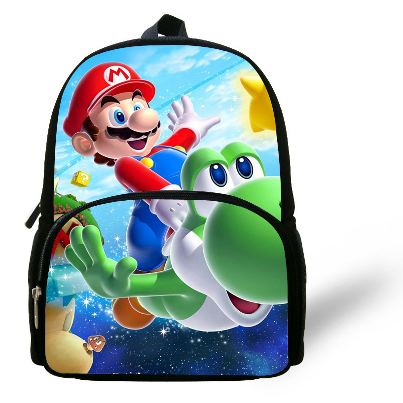 12 inch Little Girl Bags Kids Backpack Super Mario Bag Printing ...