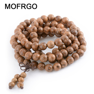 Prayer Beads Bracelet 108 Tibetan Buddhist Rosary Charm Mala Meditation Necklace Yoga lucky Wenge Wooden Bracelet For Women Men(China)
