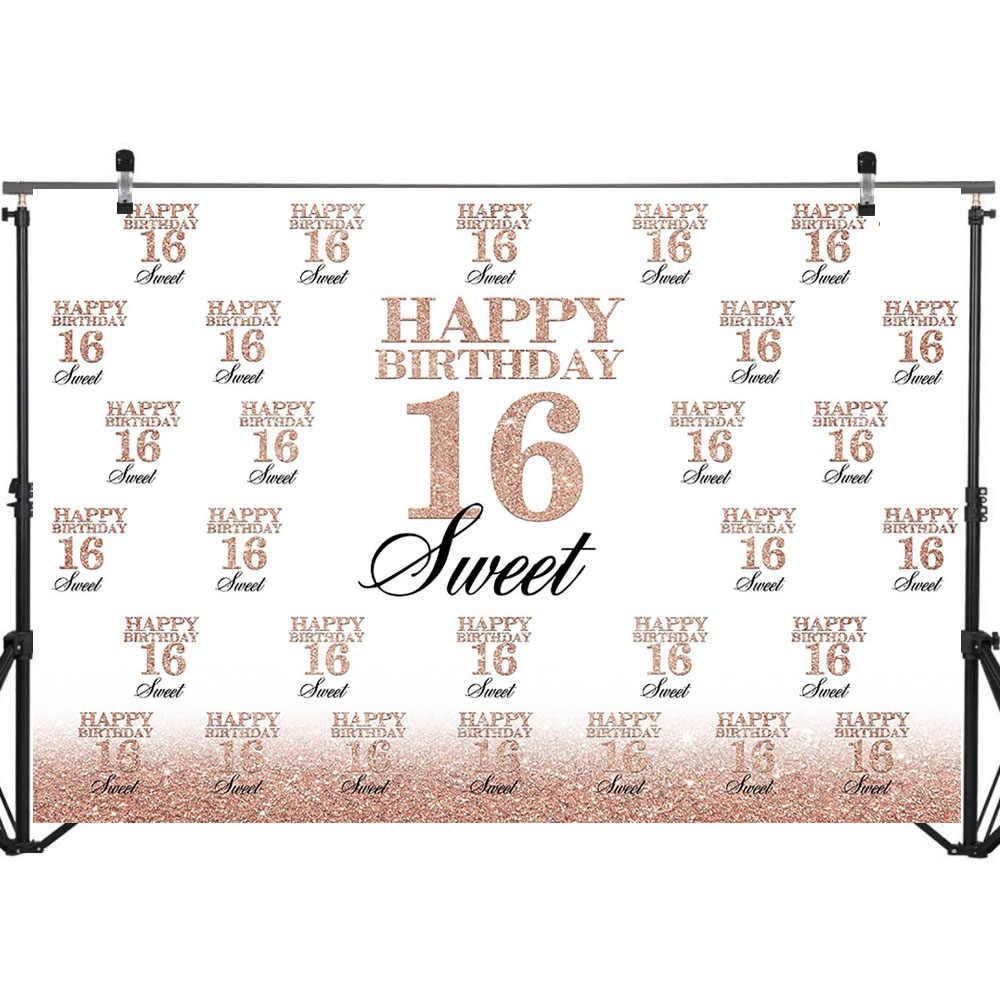 מתוק 16th יום הולדת רקע עלה זהב שש עשרה מסיבת יום הולדת באנר תמונה רקע חזור על שלבים קינוח שולחן לקשט אבזרי