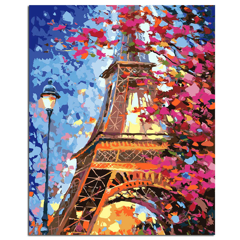 """Eiffel Tower"" DIY Painting By Number Picture By Numbers Digital Oil Painting Wall Art Decor Picture"
