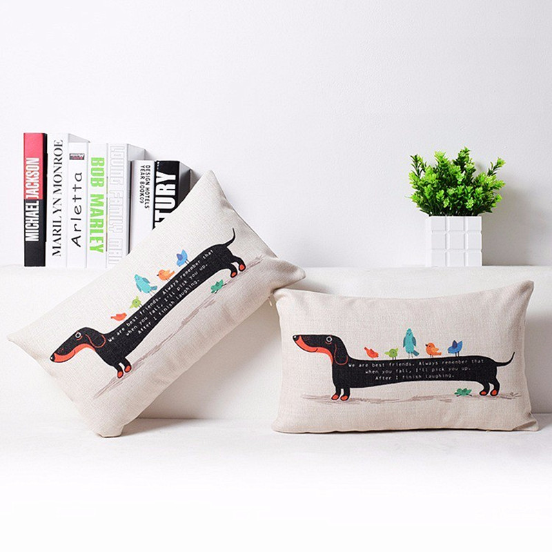 <font><b>30x50</b></font> cm Linen Cotton Rainbow Sausage Dogs Custom Cushion Cover Dachshund <font><b>Pillow</b></font> Cover Throw <font><b>Pillow</b></font> <font><b>Case</b></font> Decorative Cushion image