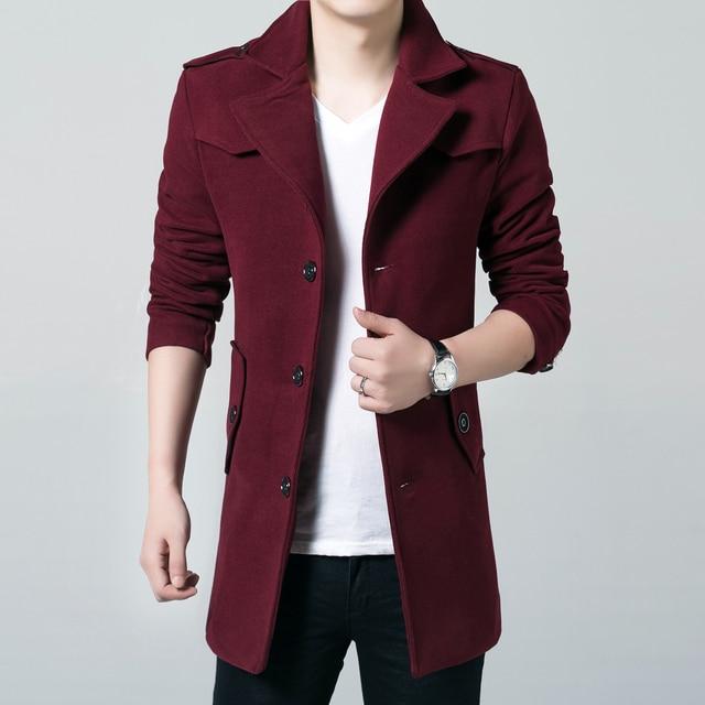 Wool Coat Men 2018 New Fashion Designer Men Long Jacket Autumn