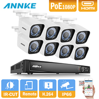 ANNKE 8CH 1080P POE IR IP Camera PoE NVR Kit With 8PCS 2 0MP Waterproof IP66