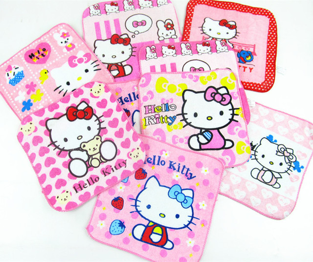 1 Piece New Arrival Cartoon Lovely Printed Hello Kitty Cotton Kids Ladies  20x20cm Pocket Squares Handkerchief Towel SP8 d694bfd4d724b