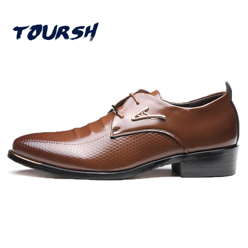 TOURSH Big Size 38-48 Mens Dress Shoes Fashion Pointed Toe Lace Up Mens Business Casual Shoes Brown Black Oxfords Shoes Zapatos