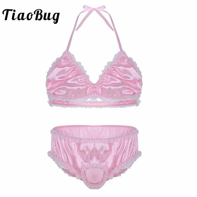 TiaoBug 2Pcs Sexy Men Shiny Sissy Satin Ruffle Lace Lingerie Erotic Set Halter Bra Top with Open Penis Briefs Underwear Panties