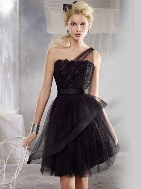 Lace Short Prom Black One Shoulder Tulle with Belt A-line Cocktail Dresses vestidos de fiesta coctail dress