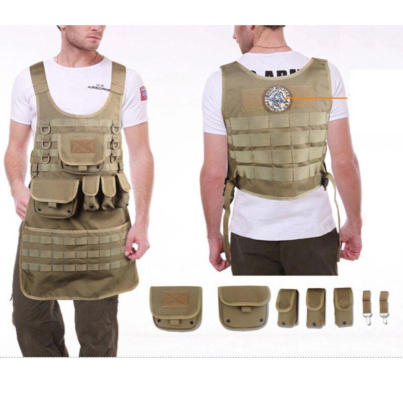 Chaleco táctico militar del ejército, delantal Molle, delantales genéricos masculinos, ropa impermeable de reparación de camuflaje, delantal de secado rápido tatico